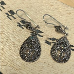 "Sterling .925 Silver Drop 2"" earrings Pierced"